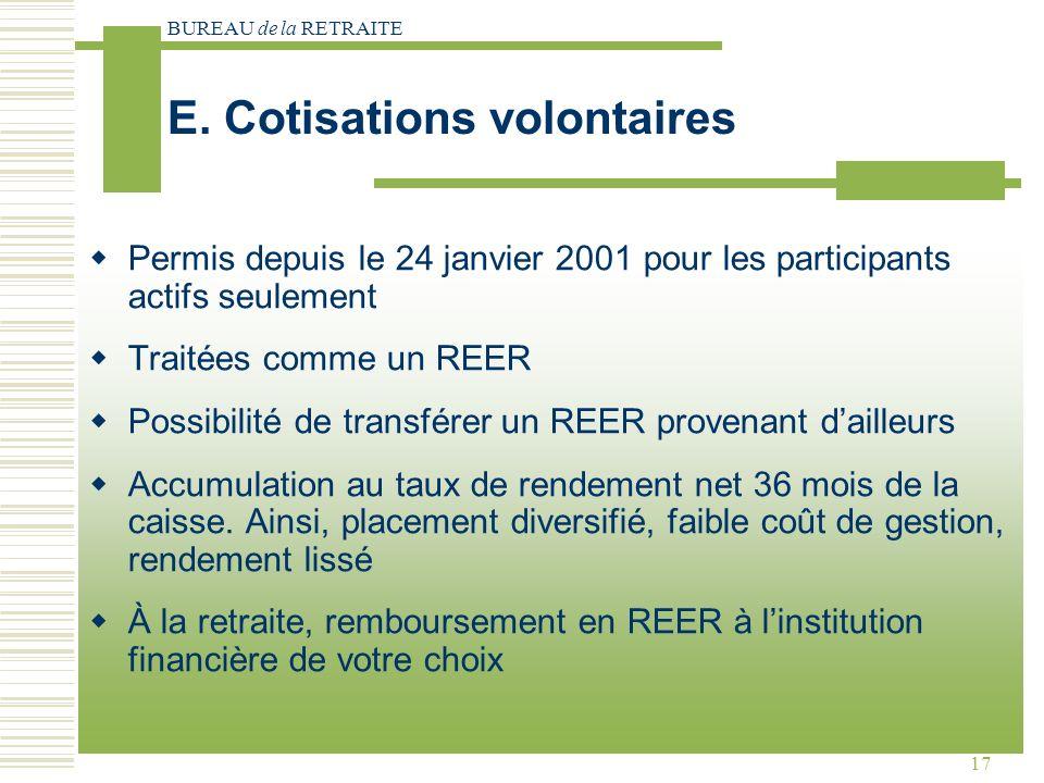 BUREAU de la RETRAITE 17 Permis depuis le 24 janvier 2001 pour les participants actifs seulement Traitées comme un REER Possibilité de transférer un REER provenant dailleurs Accumulation au taux de rendement net 36 mois de la caisse.