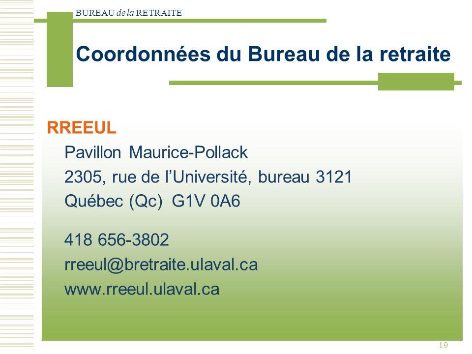 BUREAU de la RETRAITE 19 Coordonnées du Bureau de la retraite RREEUL Pavillon Maurice-Pollack 2305, rue de lUniversité, bureau 3121 Québec (Qc) G1V 0A6 418 656-3802 rreeul@bretraite.ulaval.ca www.rreeul.ulaval.ca