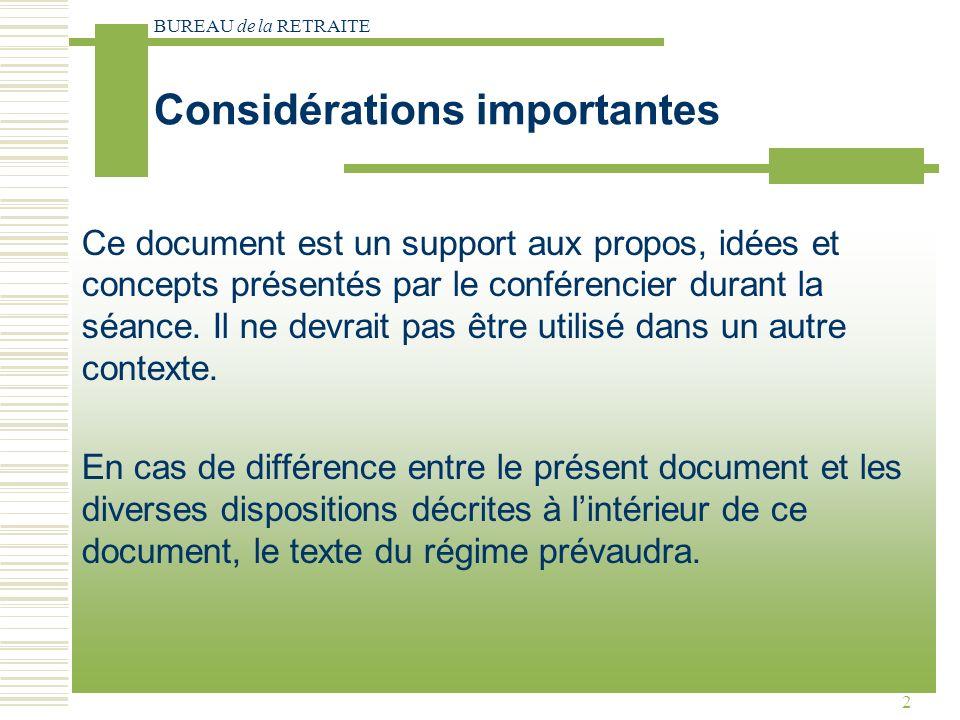 BUREAU de la RETRAITE 2 Considérations importantes Ce document est un support aux propos, idées et concepts présentés par le conférencier durant la séance.