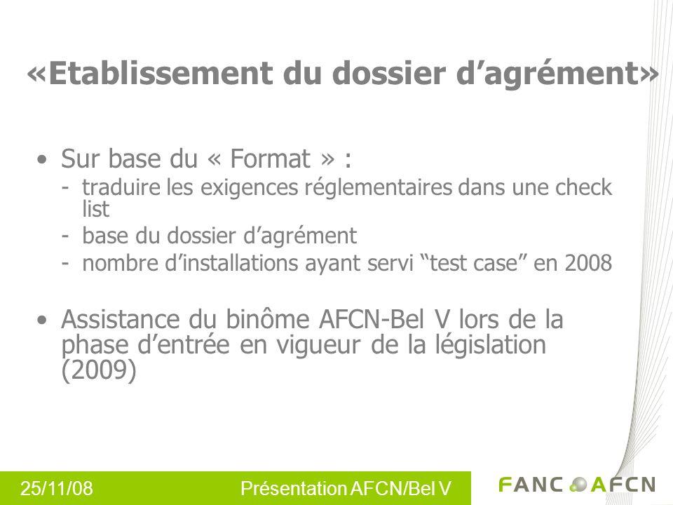 25/11/08 Présentation AFCN/Bel V «Etablissement du dossier dagrément» Sur base du « Format » : -traduire les exigences réglementaires dans une check l