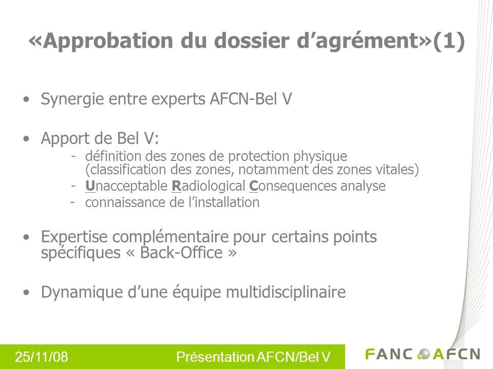 25/11/08 Présentation AFCN/Bel V « Approbation du dossier dagrément»(1) Synergie entre experts AFCN-Bel V Apport de Bel V: - définition des zones de p