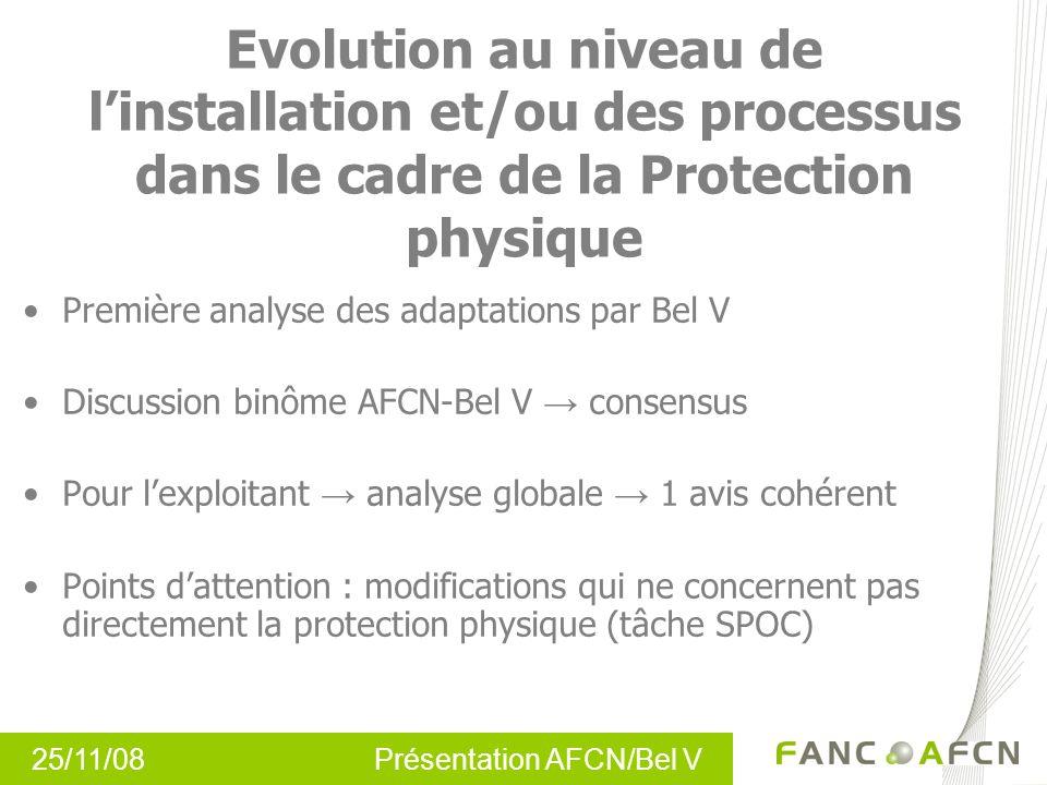 25/11/08 Présentation AFCN/Bel V Evolution au niveau de linstallation et/ou des processus dans le cadre de la Protection physique Première analyse des