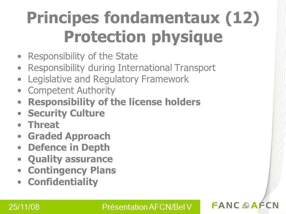 25/11/08 Présentation AFCN/Bel V Principes fondamentaux (12) Protection physique Responsibility of the State Responsibility during International Trans