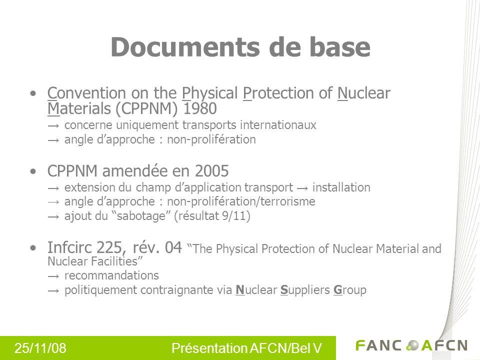 25/11/08 Présentation AFCN/Bel V Documents de base Convention on the Physical Protection of Nuclear Materials (CPPNM) 1980 concerne uniquement transpo