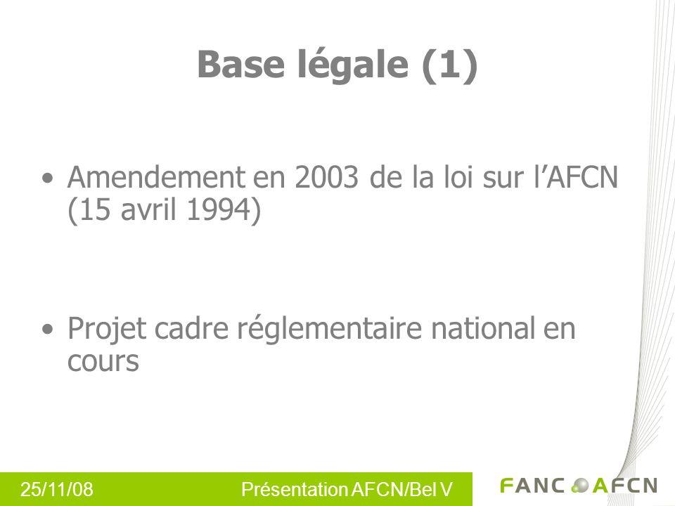 25/11/08 Présentation AFCN/Bel V Base légale (2) Avant-projet de loi de modification de la loi de lAFCN relative à la protection de la population et de l environnement contre les dangers résultant des rayonnements ionisants et relative à lAFCN.