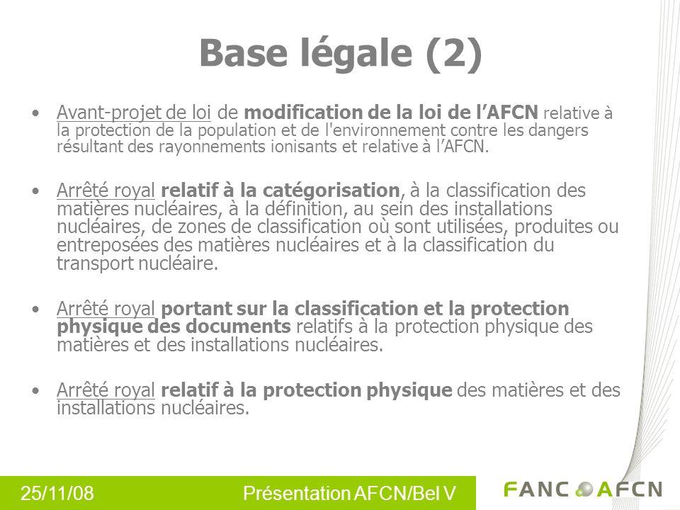 25/11/08 Présentation AFCN/Bel V Base légale (2) Avant-projet de loi de modification de la loi de lAFCN relative à la protection de la population et d