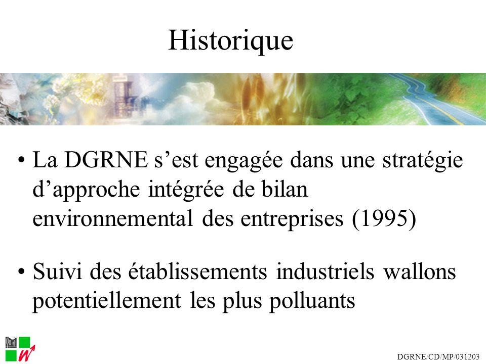 Historique La DGRNE sest engagée dans une stratégie dapproche intégrée de bilan environnemental des entreprises (1995) Suivi des établissements industriels wallons potentiellement les plus polluants DGRNE/CD/MP/031203