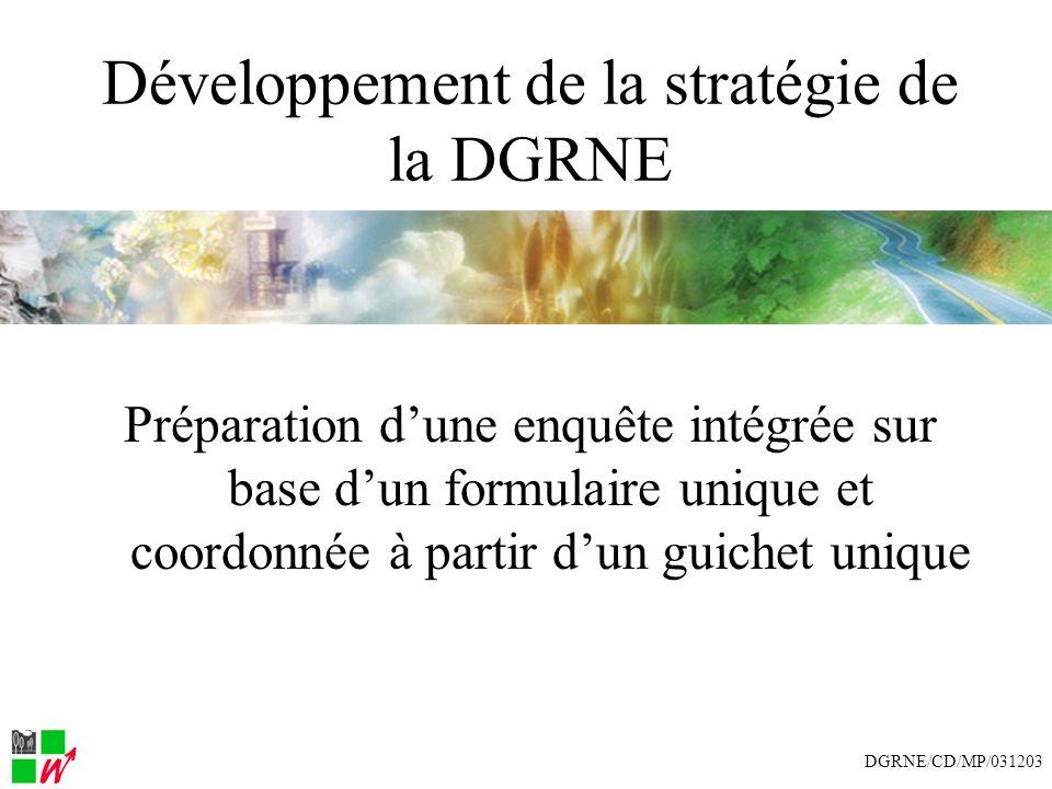 Développement de la stratégie de la DGRNE Préparation dune enquête intégrée sur base dun formulaire unique et coordonnée à partir dun guichet unique DGRNE/CD/MP/031203