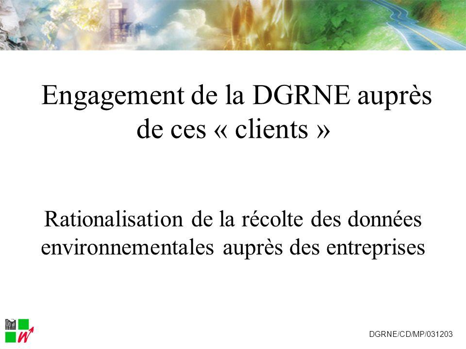 Enquête intégrée Autant de formulaire unique que détablissements interrogés DGRNE/CD/MP/031203