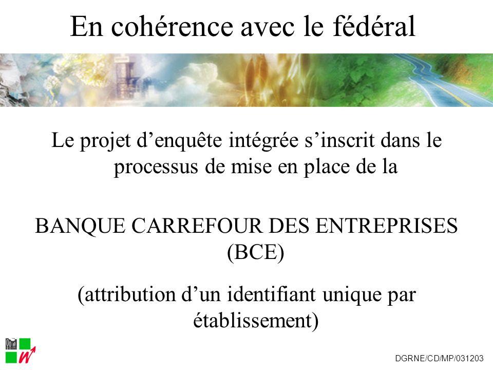 En cohérence avec le fédéral Le projet denquête intégrée sinscrit dans le processus de mise en place de la BANQUE CARREFOUR DES ENTREPRISES (BCE) (att