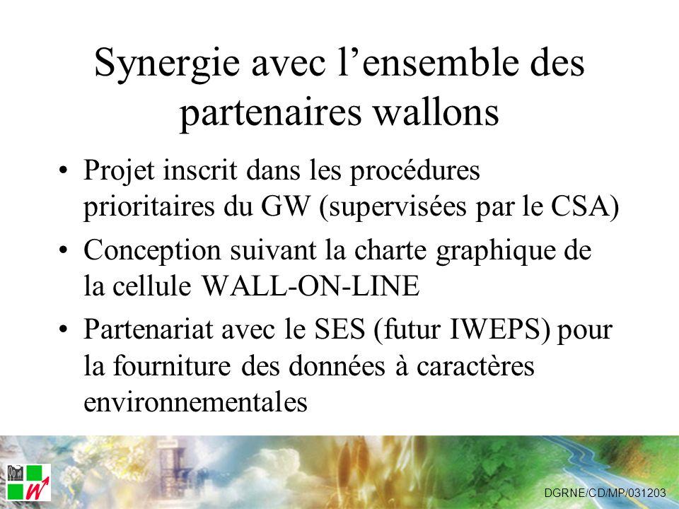 Synergie avec lensemble des partenaires wallons Projet inscrit dans les procédures prioritaires du GW (supervisées par le CSA) Conception suivant la charte graphique de la cellule WALL-ON-LINE Partenariat avec le SES (futur IWEPS) pour la fourniture des données à caractères environnementales DGRNE/CD/MP/031203