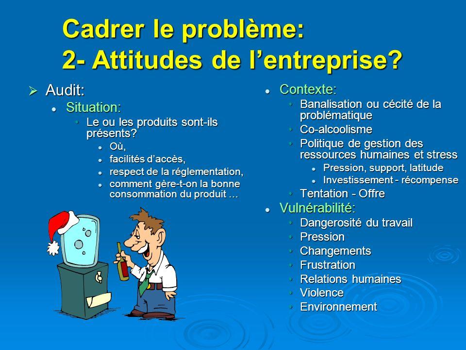 Cadrer le problème: 2- Attitudes de lentreprise? Audit: Audit: Situation: Situation: Le ou les produits sont-ils présents?Le ou les produits sont-ils