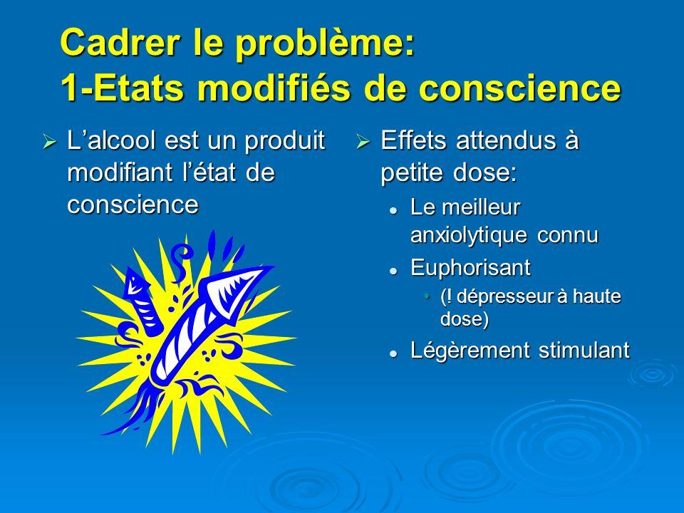 Cadrer le problème: 1-Etats modifiés de conscience Lalcool est un produit modifiant létat de conscience Lalcool est un produit modifiant létat de cons