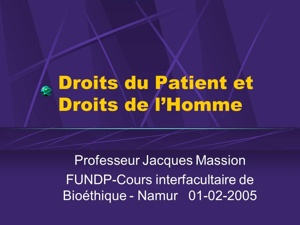 Droits du Patient et Droits de lHomme Professeur Jacques Massion FUNDP-Cours interfacultaire de Bioéthique - Namur 01-02-2005