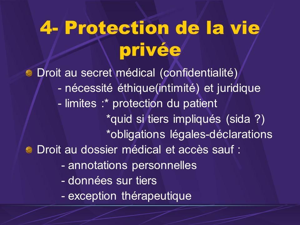 4- Protection de la vie privée Droit au secret médical (confidentialité) - nécessité éthique(intimité) et juridique - limites :* protection du patient