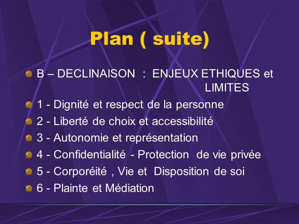 Plan ( suite) B – DECLINAISON : ENJEUX ETHIQUES et LIMITES 1 - Dignité et respect de la personne 2 - Liberté de choix et accessibilité 3 - Autonomie e