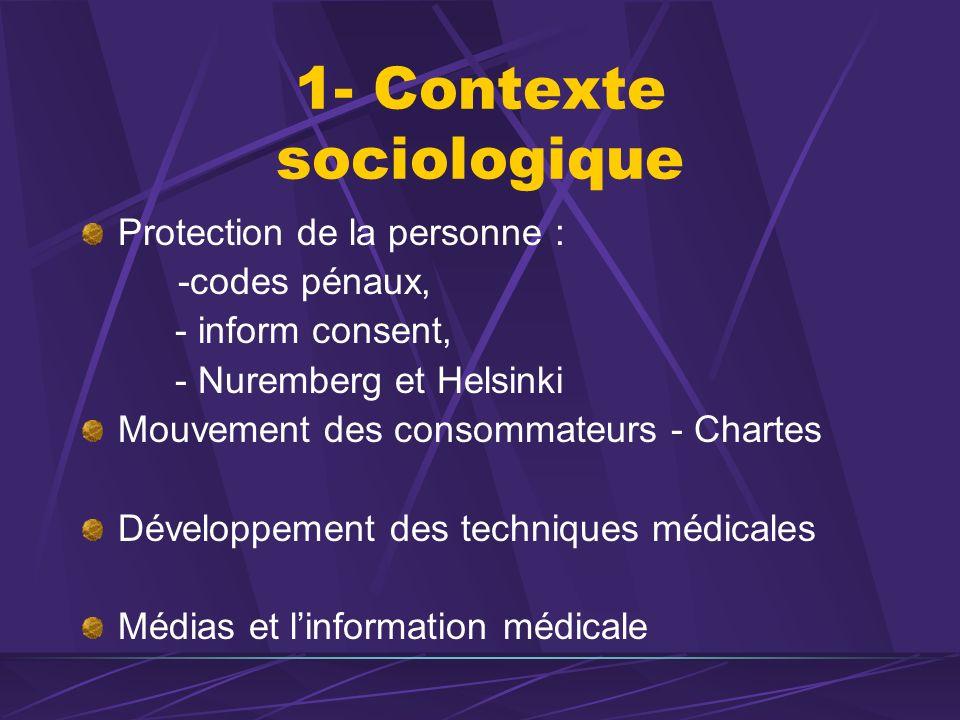 1- Contexte sociologique Protection de la personne : -codes pénaux, - inform consent, - Nuremberg et Helsinki Mouvement des consommateurs - Chartes Dé