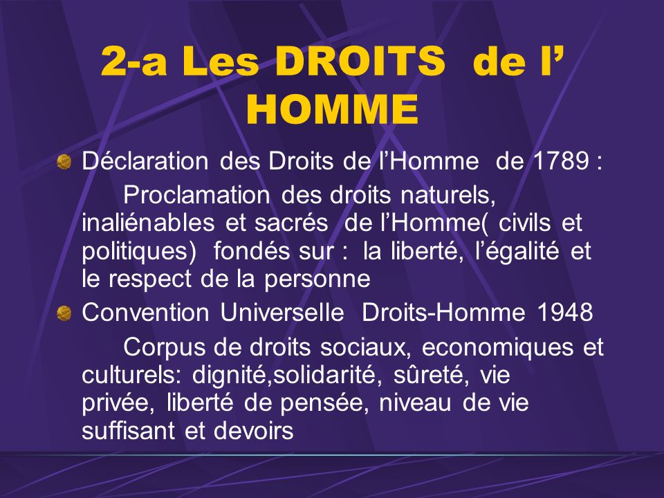 2-a Les DROITS de l HOMME Déclaration des Droits de lHomme de 1789 : Proclamation des droits naturels, inaliénables et sacrés de lHomme( civils et pol