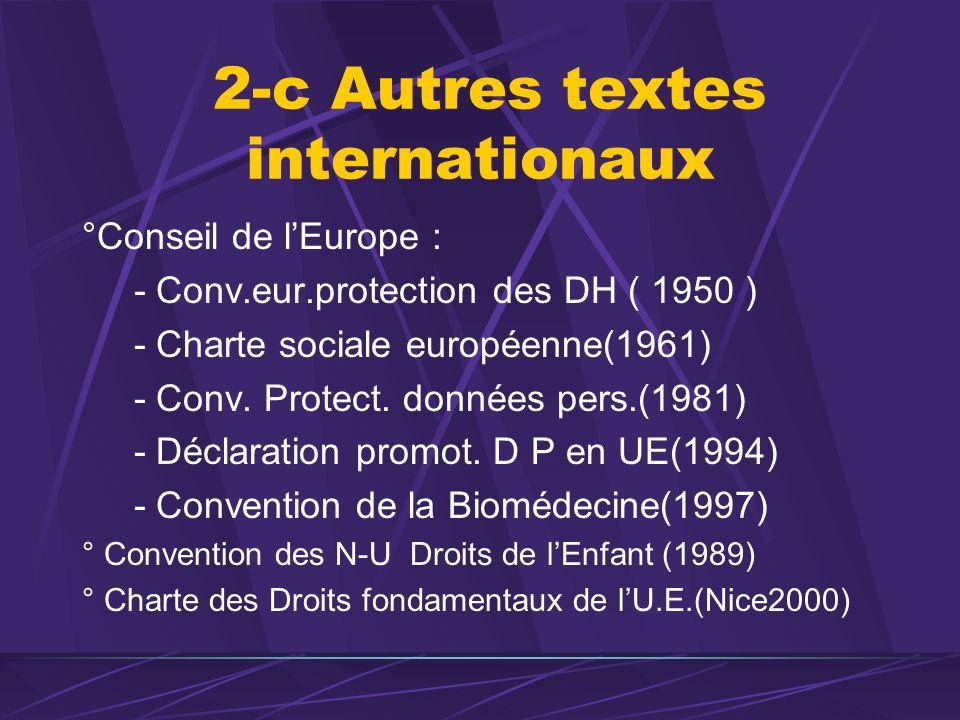 2-c Autres textes internationaux °Conseil de lEurope : - Conv.eur.protection des DH ( 1950 ) - Charte sociale européenne(1961) - Conv. Protect. donnée