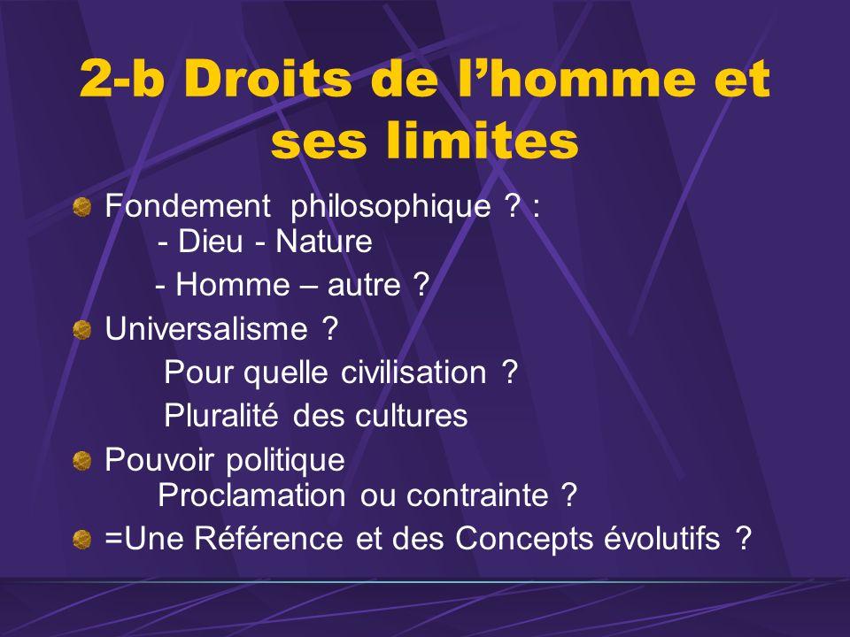2-b Droits de lhomme et ses limites Fondement philosophique ? : - Dieu - Nature - Homme – autre ? Universalisme ? Pour quelle civilisation ? Pluralité