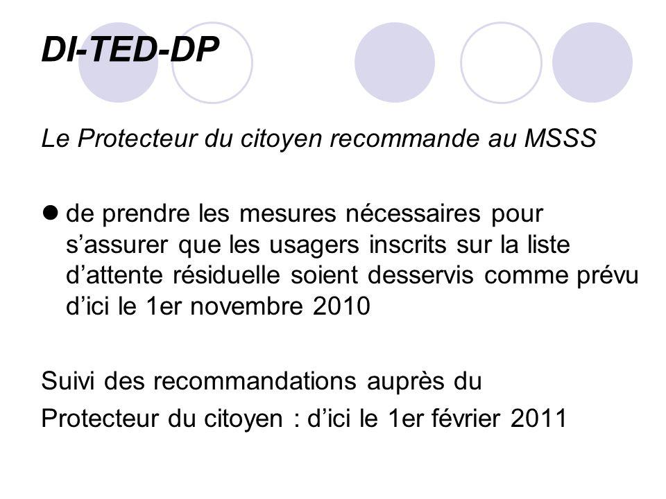 DI-TED-DP Le Protecteur du citoyen recommande au MSSS de prendre les mesures nécessaires pour sassurer que les usagers inscrits sur la liste dattente résiduelle soient desservis comme prévu dici le 1er novembre 2010 Suivi des recommandations auprès du Protecteur du citoyen : dici le 1er février 2011