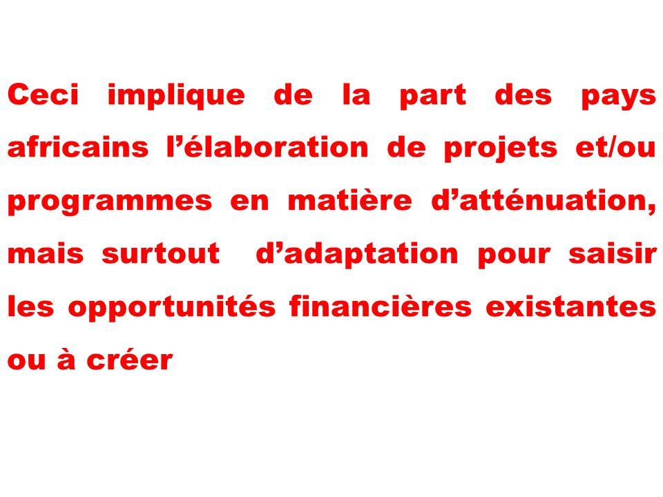 Ceci implique de la part des pays africains lélaboration de projets et/ou programmes en matière datténuation, mais surtout dadaptation pour saisir les opportunités financières existantes ou à créer
