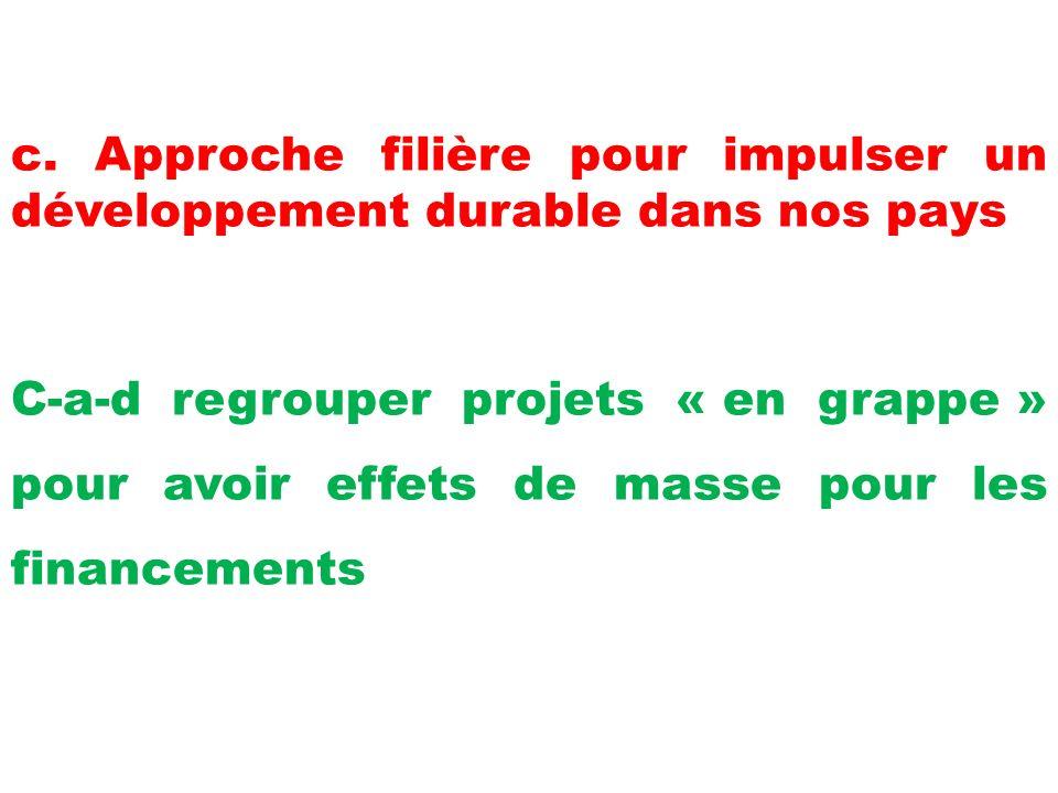 c. Approche filière pour impulser un développement durable dans nos pays C-a-d regrouper projets « en grappe » pour avoir effets de masse pour les fin