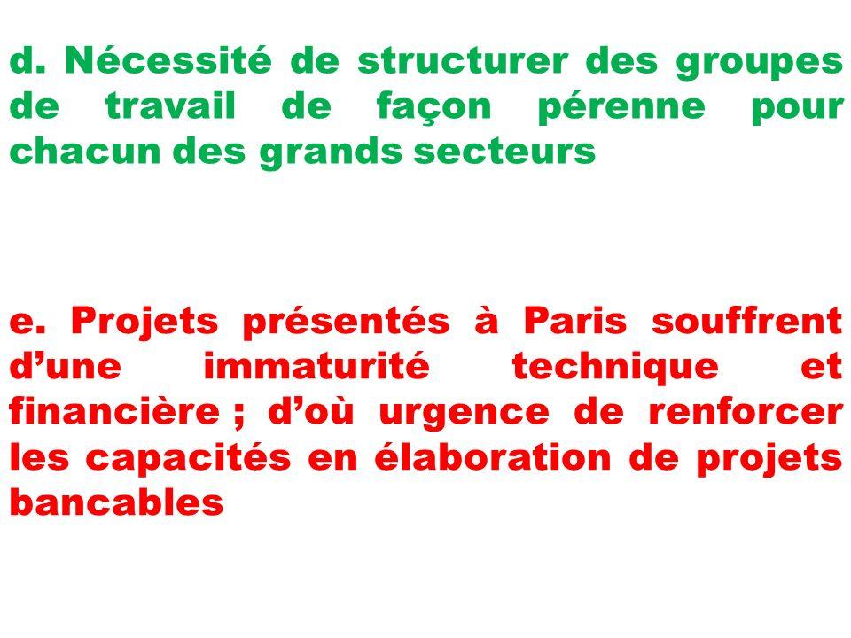 d. Nécessité de structurer des groupes de travail de façon pérenne pour chacun des grands secteurs e. Projets présentés à Paris souffrent dune immatur
