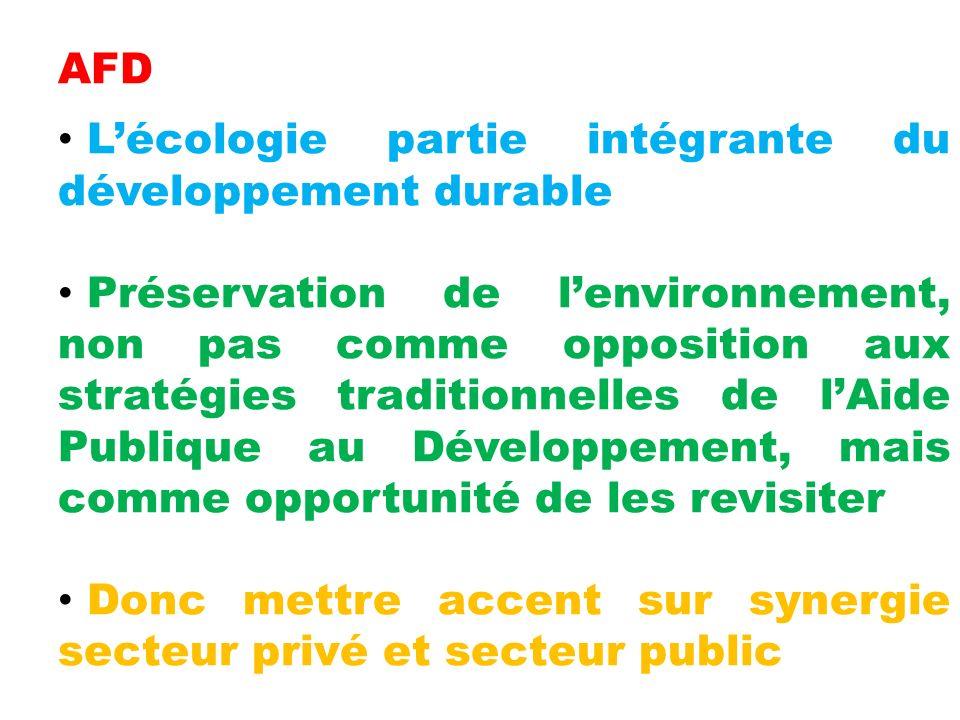 AFD Lécologie partie intégrante du développement durable Préservation de lenvironnement, non pas comme opposition aux stratégies traditionnelles de lAide Publique au Développement, mais comme opportunité de les revisiter Donc mettre accent sur synergie secteur privé et secteur public