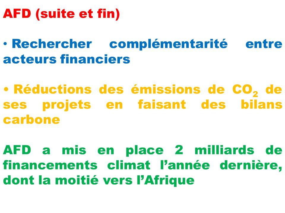 AFD (suite et fin) Rechercher complémentarité entre acteurs financiers Réductions des émissions de CO 2 de ses projets en faisant des bilans carbone AFD a mis en place 2 milliards de financements climat lannée dernière, dont la moitié vers lAfrique