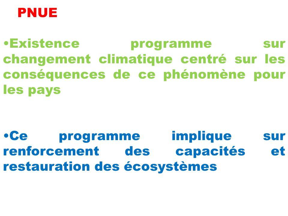 PNUE Existence programme sur changement climatique centré sur les conséquences de ce phénomène pour les pays Ce programme implique sur renforcement des capacités et restauration des écosystèmes