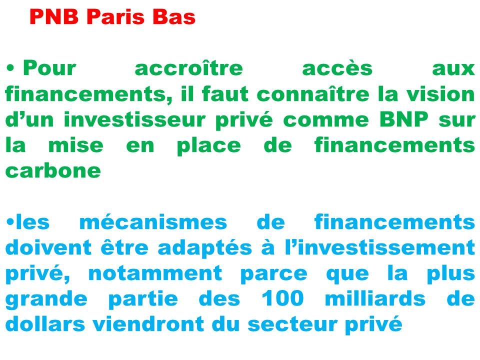 PNB Paris Bas Pour accroître accès aux financements, il faut connaître la vision dun investisseur privé comme BNP sur la mise en place de financements carbone les mécanismes de financements doivent être adaptés à linvestissement privé, notamment parce que la plus grande partie des 100 milliards de dollars viendront du secteur privé