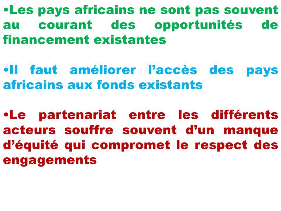 Les pays africains ne sont pas souvent au courant des opportunités de financement existantes Il faut améliorer laccès des pays africains aux fonds existants Le partenariat entre les différents acteurs souffre souvent dun manque déquité qui compromet le respect des engagements