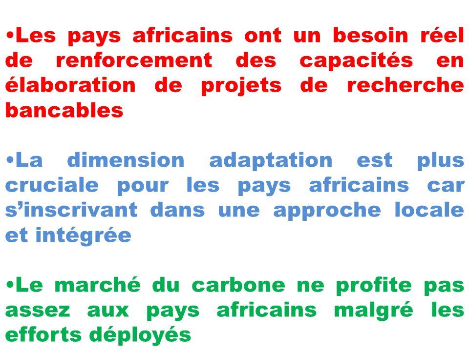 Les pays africains ont un besoin réel de renforcement des capacités en élaboration de projets de recherche bancables La dimension adaptation est plus cruciale pour les pays africains car sinscrivant dans une approche locale et intégrée Le marché du carbone ne profite pas assez aux pays africains malgré les efforts déployés
