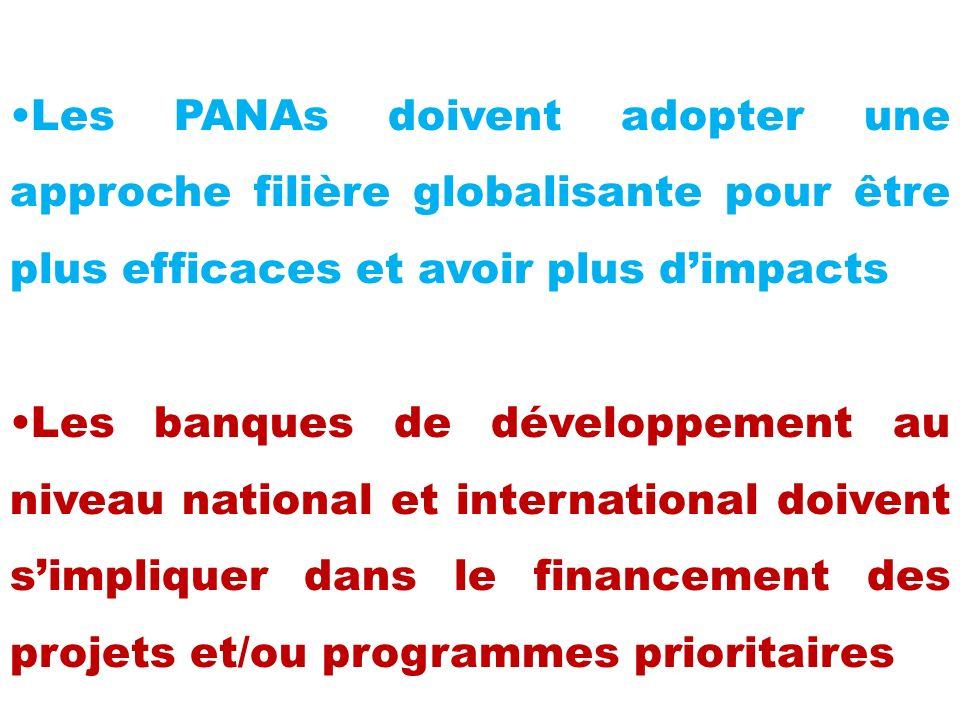 Les PANAs doivent adopter une approche filière globalisante pour être plus efficaces et avoir plus dimpacts Les banques de développement au niveau national et international doivent simpliquer dans le financement des projets et/ou programmes prioritaires