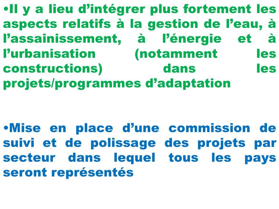 Il y a lieu dintégrer plus fortement les aspects relatifs à la gestion de leau, à lassainissement, à lénergie et à lurbanisation (notamment les constructions) dans les projets/programmes dadaptation Mise en place dune commission de suivi et de polissage des projets par secteur dans lequel tous les pays seront représentés