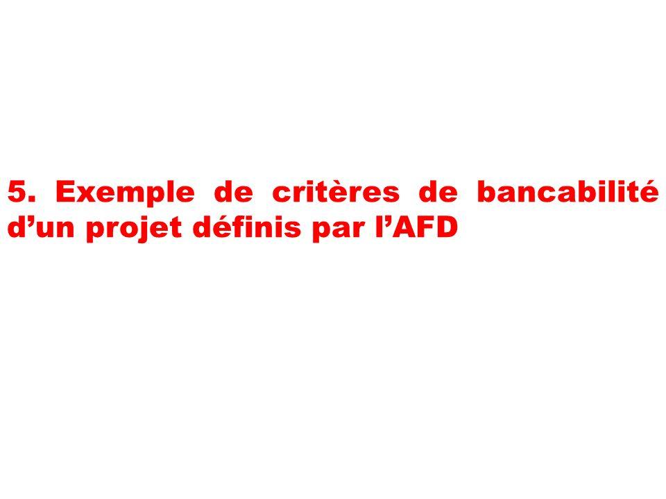 5. Exemple de critères de bancabilité dun projet définis par lAFD