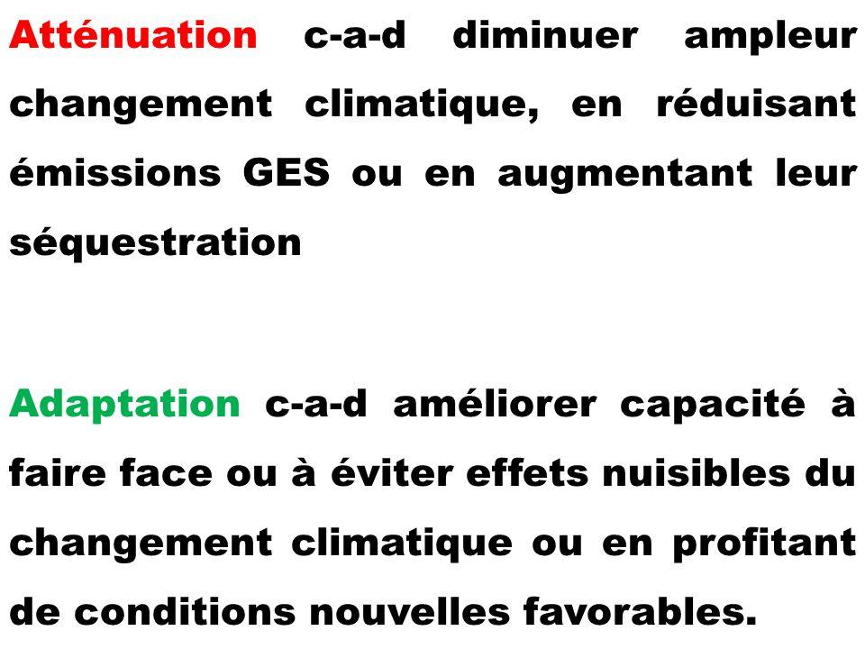 Atténuation c-a-d diminuer ampleur changement climatique, en réduisant émissions GES ou en augmentant leur séquestration Adaptation c-a-d améliorer capacité à faire face ou à éviter effets nuisibles du changement climatique ou en profitant de conditions nouvelles favorables.