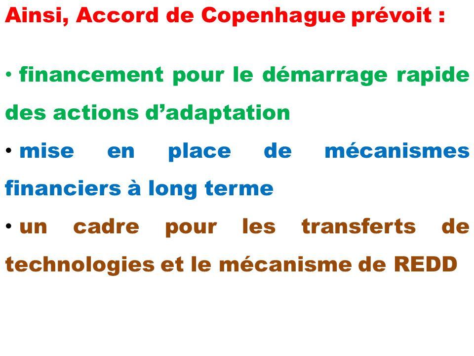 Ainsi, Accord de Copenhague prévoit : financement pour le démarrage rapide des actions dadaptation mise en place de mécanismes financiers à long terme un cadre pour les transferts de technologies et le mécanisme de REDD