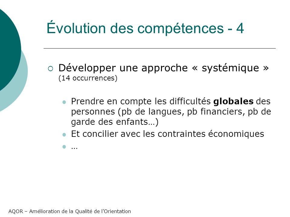 AQOR – Amélioration de la Qualité de lOrientation Développer une approche « systémique » (14 occurrences) Prendre en compte les difficultés globales d