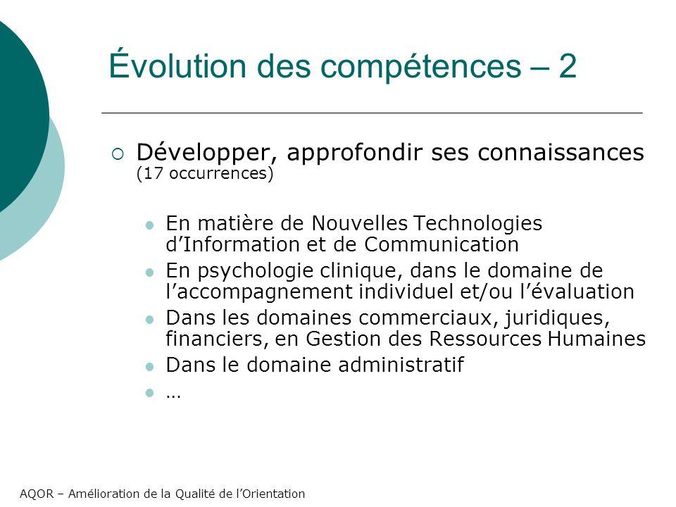 AQOR – Amélioration de la Qualité de lOrientation Développer, approfondir ses connaissances (17 occurrences) En matière de Nouvelles Technologies dInf