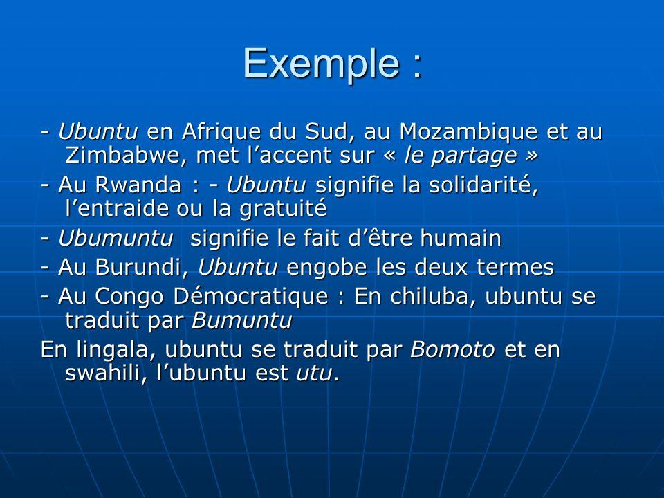 Exemple : - Ubuntu en Afrique du Sud, au Mozambique et au Zimbabwe, met laccent sur « le partage » - Au Rwanda : - Ubuntu signifie la solidarité, lent