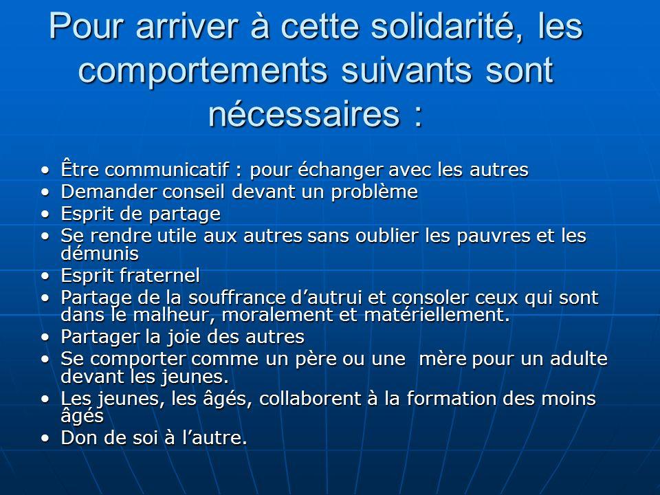 Pour arriver à cette solidarité, les comportements suivants sont nécessaires : Être communicatif : pour échanger avec les autresÊtre communicatif : po