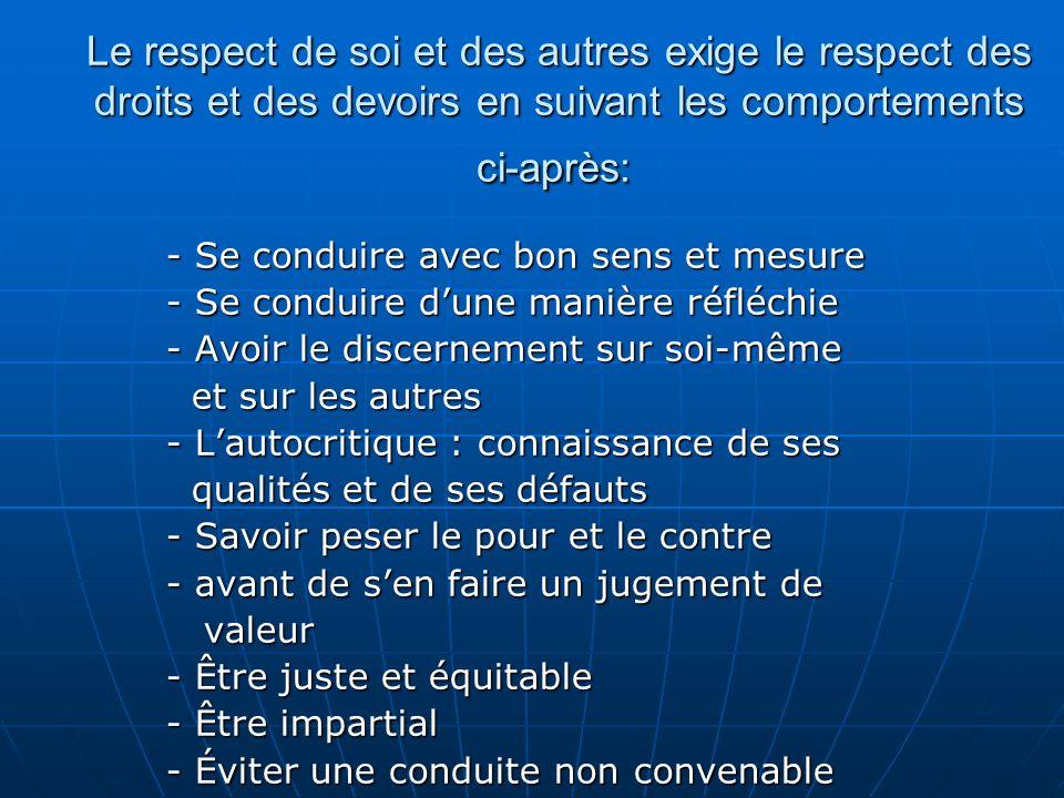 Le respect de soi et des autres exige le respect des droits et des devoirs en suivant les comportements ci-après: Le respect de soi et des autres exig