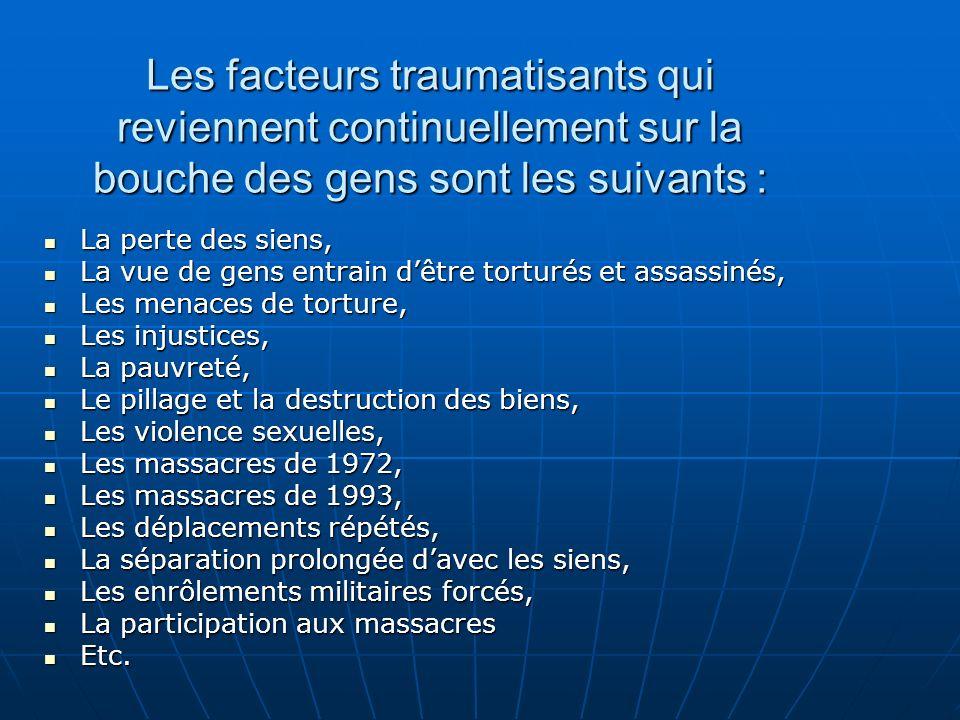 Les facteurs traumatisants qui reviennent continuellement sur la bouche des gens sont les suivants : La perte des siens, La perte des siens, La vue de