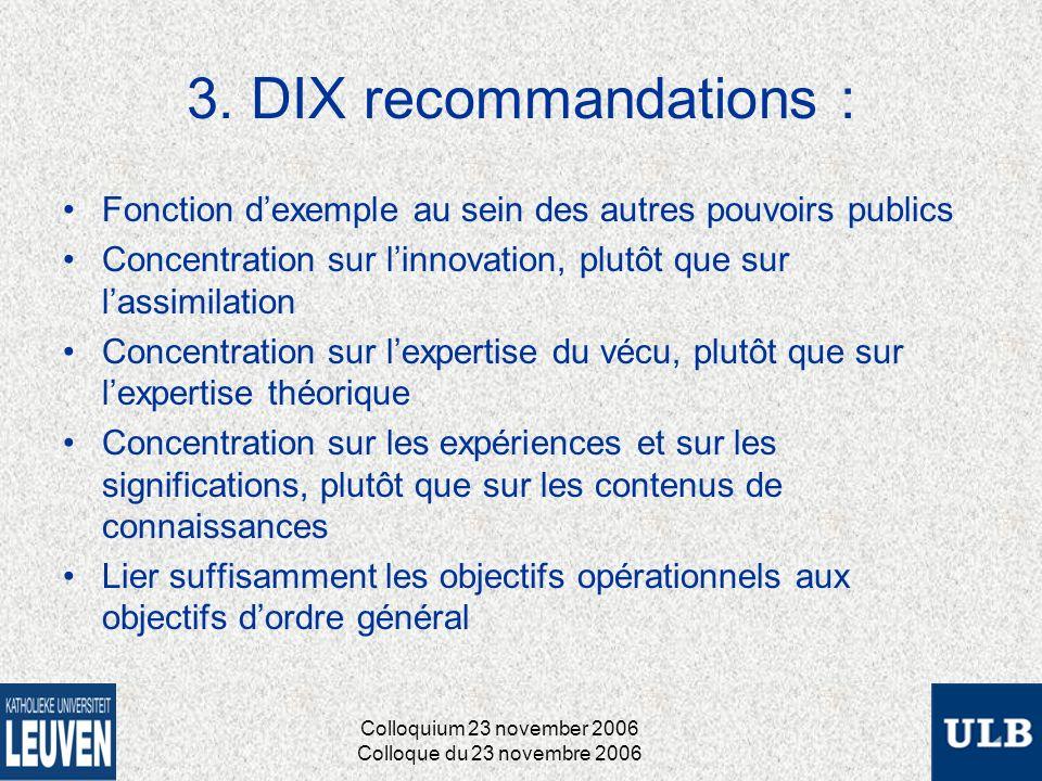 3. DIX recommandations : Fonction dexemple au sein des autres pouvoirs publics Concentration sur linnovation, plutôt que sur lassimilation Concentrati