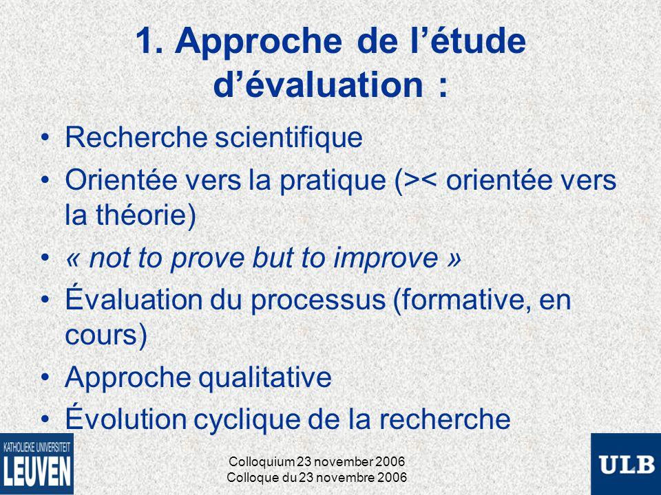 1. Approche de létude dévaluation : Recherche scientifique Orientée vers la pratique (>< orientée vers la théorie) « not to prove but to improve » Éva