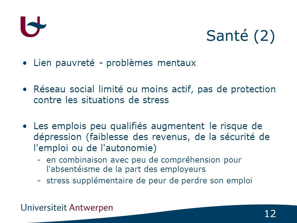 12 Santé (2) Lien pauvreté - problèmes mentaux Réseau social limité ou moins actif, pas de protection contre les situations de stress Les emplois peu
