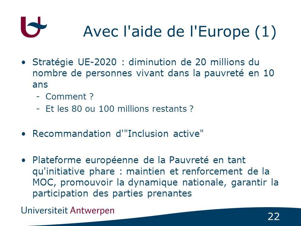 22 Avec l'aide de l'Europe (1) Stratégie UE-2020 : diminution de 20 millions du nombre de personnes vivant dans la pauvreté en 10 ans -Comment ? -Et l