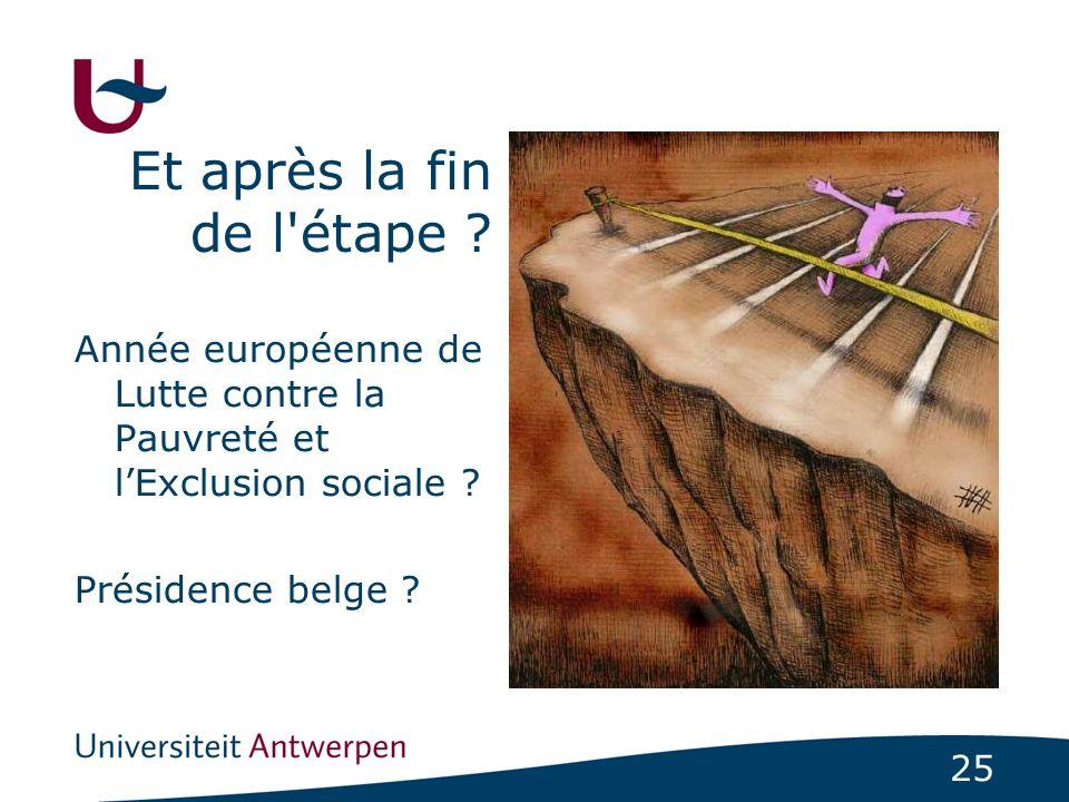25 Et après la fin de l'étape ? Année européenne de Lutte contre la Pauvreté et lExclusion sociale ? Présidence belge ?